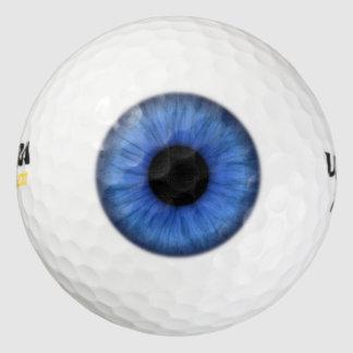 Foco de la blanco del ojo azul pack de pelotas de golf