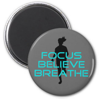 Focus Believe Breathe Aqua 2 Inch Round Magnet