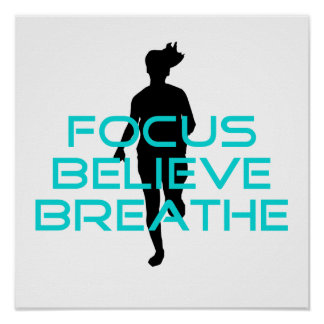 Focus Believe Breathe Aqua Poster