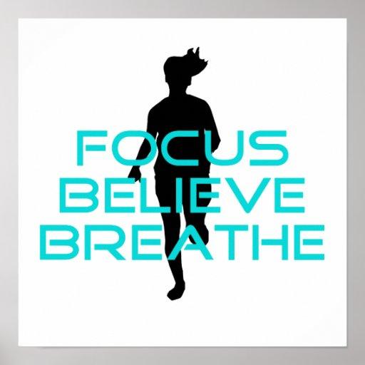 Focus Believe Breathe Aqua Print