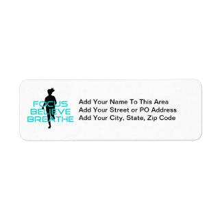 Focus Believe Breathe Aqua Return Address Label