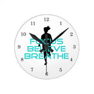 Focus Believe Breathe Aqua Round Clock