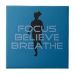 Focus Believe Breathe Blue T-shirts Ceramic Tiles