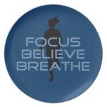 Focus Believe Breathe Blue T-shirts Dinner Plate