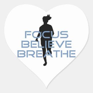 Focus Believe Breathe Blue T-shirts Heart Sticker