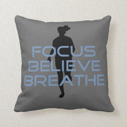 Focus Believe Breathe Blue T-shirts Pillows