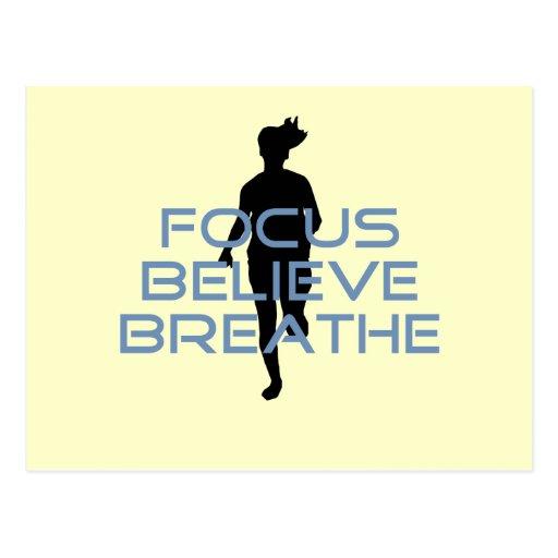 Focus Believe Breathe Blue T-shirts Post Cards