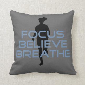 Focus Believe Breathe Blue T-shirts Throw Pillows