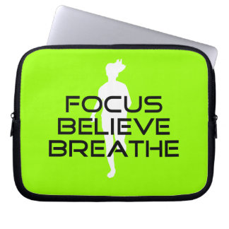 Focus Believe Breathe Green Running Computer Sleeves