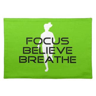 Focus Believe Breathe Green Running Sports Placemat