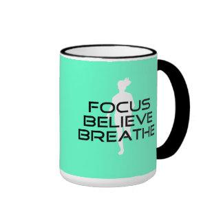 Focus Believe Breathe Ringer Coffee Mug
