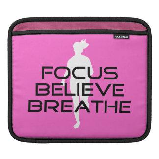 Focus Believe Breathe Pink Female Runner iPad Sleeve