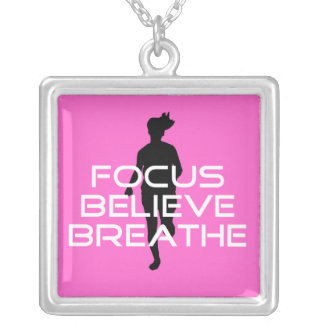 Focus Believe Breathe Running Motivational Silver Plated Necklace