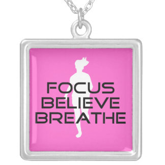 Focus Believe Breathe Silver Plated Necklace