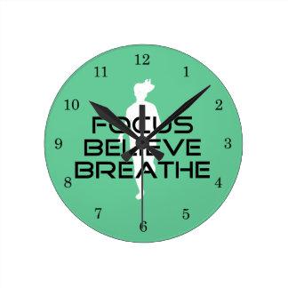 Focus Believe Breathe Sports Running Round Clock