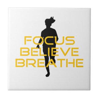 Focus Believe Breathe Yellow Running Fitness Ceramic Tile