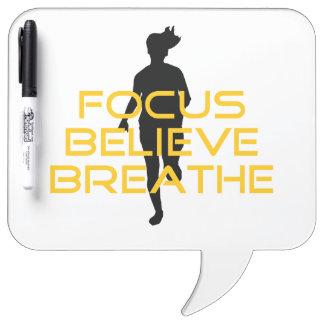 Focus Believe Breathe Yellow Running Fitness Dry-Erase Boards