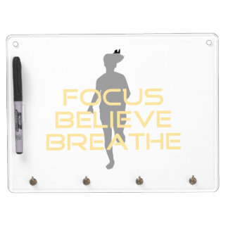 Focus Believe Breathe Yellow Running Fitness Dry Erase Whiteboards