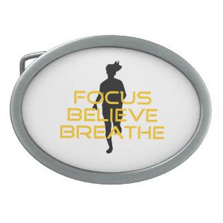 Focus Believe Breathe Yellow Running Fitness Oval Belt Buckle