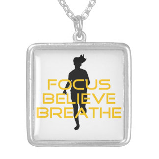 Focus Believe Breathe Yellow Running Fitness Square Pendant Necklace