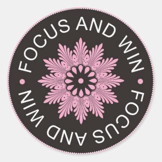~Focus de 3 citas de la palabra y ~motivational Pegatina Redonda
