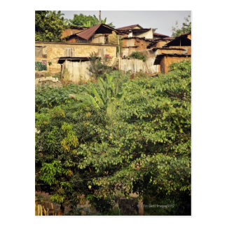 Focus on foreground trees. Jungle village near Postcard