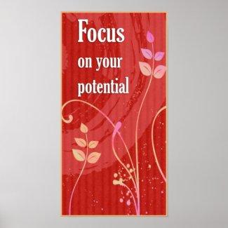 Focus-Positive Attitude Motivational Poster print