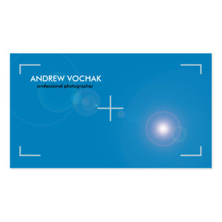 """focus"" simple blue and white Photography Business Card"