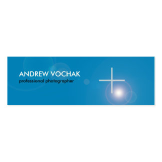 Focus -  simple blue and white Skinny  Photography Mini Business Card