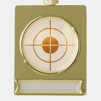 FOCUS TARGET  gold balance Banner Ornament Silver