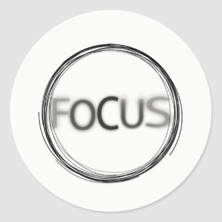 Focus Typography Hand Drawn Design Circular Logo Classic Round Sticker