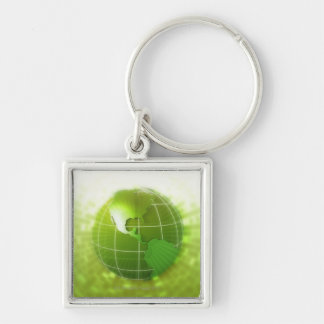 Focused on Americas Silver-Colored Square Keychain