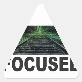 focused on the railroad triangle sticker
