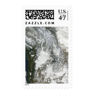 Fog and snow in the Pacific Northwest (true col Postage Stamp