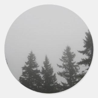 Fog anf Fir Trees - Photograph Classic Round Sticker