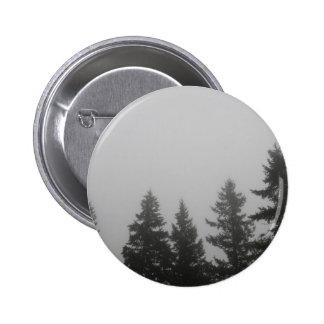 Fog anf Fir Trees - Photograph Pinback Button