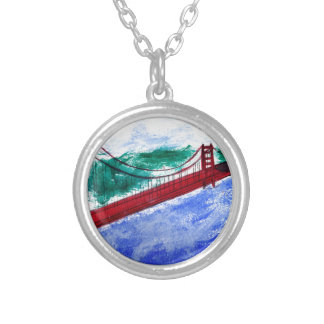 Fog at the Golden Gate Round Pendant Necklace