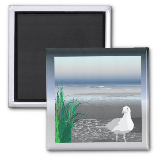 Fog Bank Seagull 2 Inch Square Magnet
