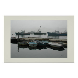 Fog Boats on a Quiet Morning Poster