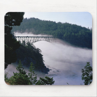 Fog drifts under the Deception Pass bridge at Mouse Pad