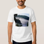 Fog drifts under the Deception Pass bridge at T Shirt