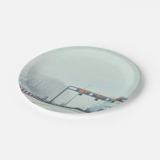 Fog filled Bridge Paper Plate
