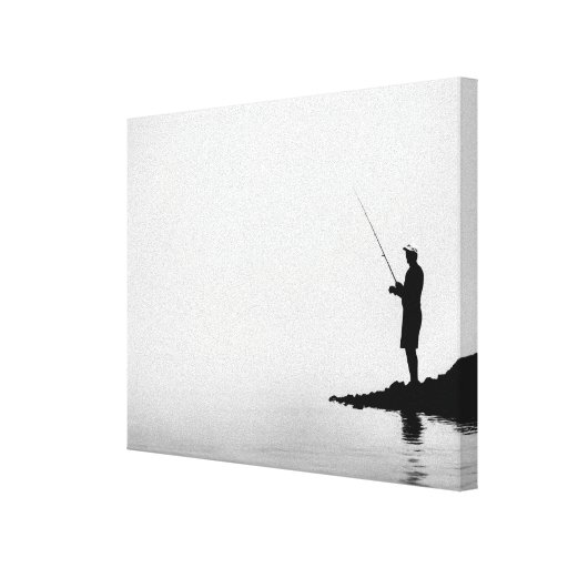 Fog Fishing - Wrapped Canvas Stretched Canvas Print