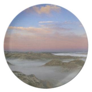 Fog from the Little Missouri River hangs in the Melamine Plate