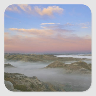 Fog from the Little Missouri River hangs in the Square Sticker