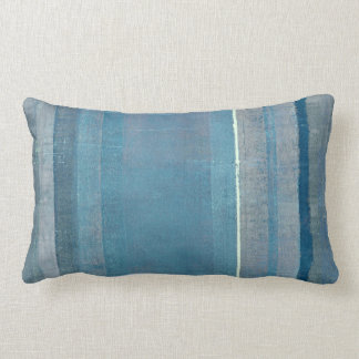 'Fog' Grey and Blue Abstract Art Pillow