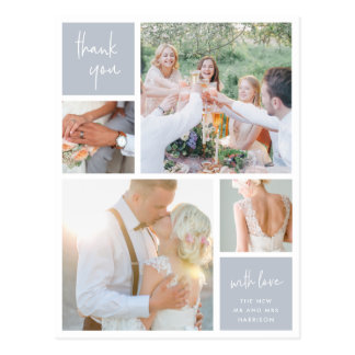 Fog Grey Collage | Wedding Photo Thank You Postcard