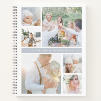 Fog Grey Stripe Personalized Photo Collage Notebook
