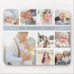 "Fog Grey Stripe Photo Collage Mouse Pad<br><div class=""desc"">Chic photo collage mousepad displays nine favorite photos in a square format,  with your family name,  business name or choice of personalization displayed on a thin band of fog gray.</div>"