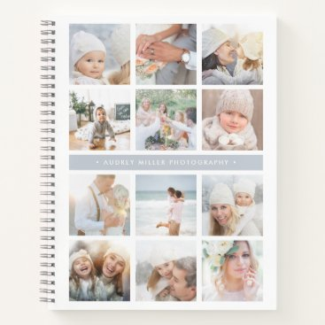 Professional Business Fog Grey Stripe Photo Collage Notebook